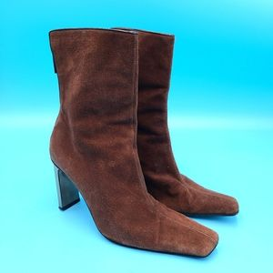 DIEGO DOLCINI BROWN SUEDE BOOTS SILVER HEEL SQUARE